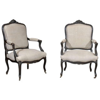 Pair of 19th Century Black Painted Louis XV Style Arm Chairs, Circa 1880