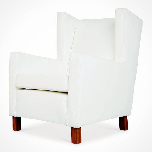 Contemporary Jacaranda and White Leather Wingback Armchairs, Brazil, Circa 1960 For Sale - Image 3 of 10