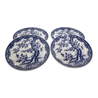 Japanese Blue and White Cherry Blossom Trees Matching Plates - Set of 4 For Sale