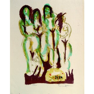 Abstract Nudes With Fish Lithograph For Sale