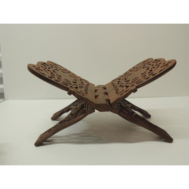 Islamic Indian Hand Carved Book Display or Stand For Sale - Image 3 of 6