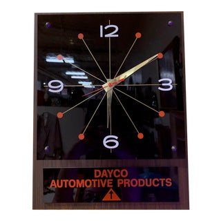1970s Black Glass Clock With Advertising For Sale