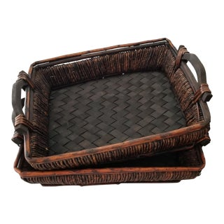 Lattice Surface Dark Brown Bamboo Trays W/ Wooden Handles - a Pair For Sale