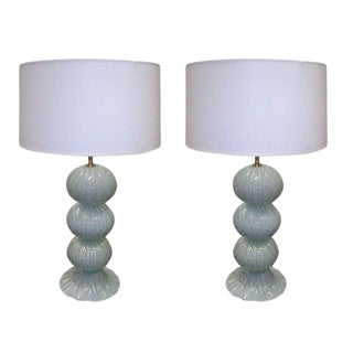 A Pair of Hand-Blown Murano Lamps With Gold Specks For Sale