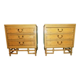 Mid-Century Modern Ficks Reed Faux Bamboo Rattan Nightstands - a Pair