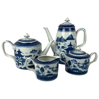 Blue Canton Porcelain Coffee, Tea Service by Vista Alegre for Mottahedeh - Set of 4 For Sale