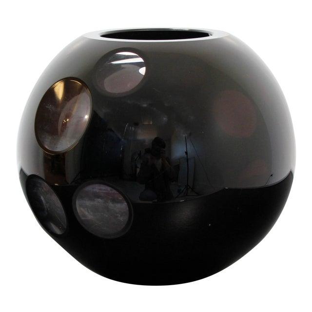 1980s Contemporary Cased Mazzega Murano Black Glass Vase For Sale