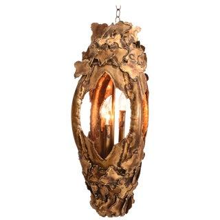 Tom Greene for Feldman Pendant Brutalist Lantern Torch-Cut Brass For Sale