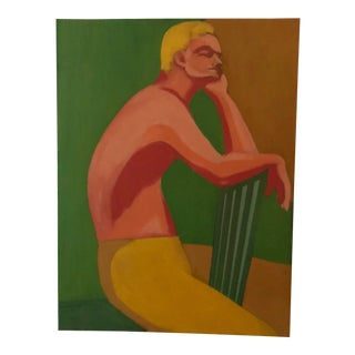 "1970s Mid- Century Modern Figure Study Painting ""Norman"" For Sale"