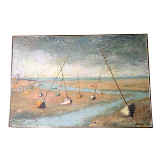 Original Signed Oil Painting of Sailboats For Sale