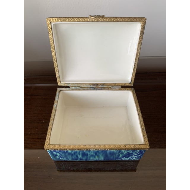 Vintage Blue Fine China Box With Gold Trim For Sale In Houston - Image 6 of 12