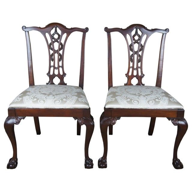 Chippendale Style Ribbon Back Dining Chairs Ball & Claw Side Accent - a Pair For Sale - Image 13 of 13