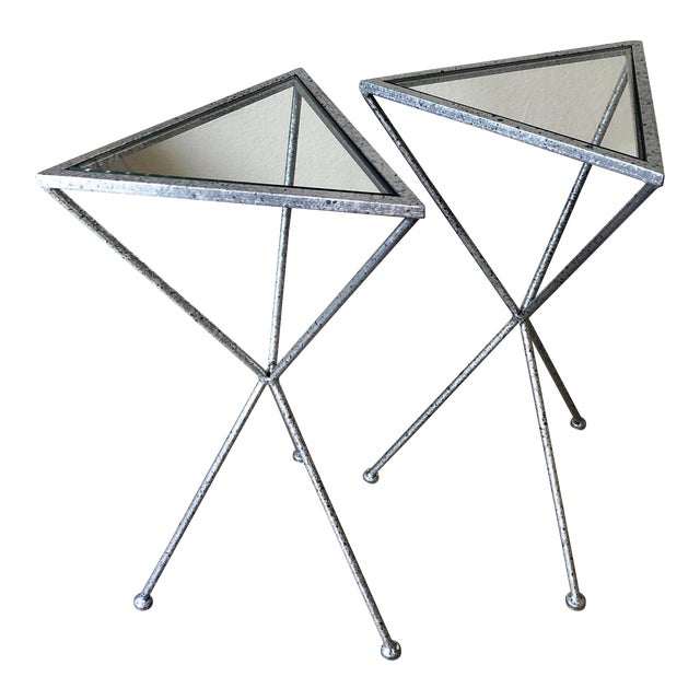 Uttermost Modern Iron & Tempered Glass Tripod Accent Tables - a Pair For Sale