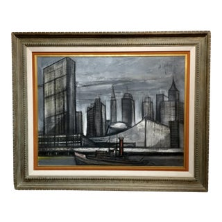 1960s New York Skyline Oil Painting by Regis De Cachard For Sale