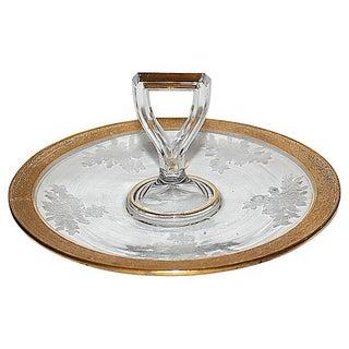 Antique Etched & Gilt Trimmed Serving Platter For Sale