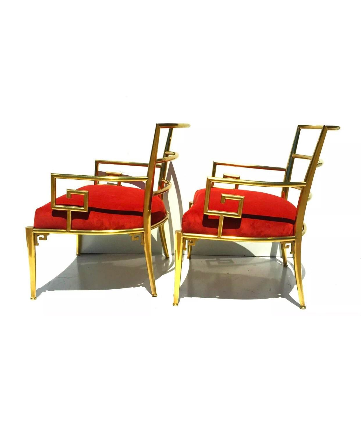 Pair Of Mid Century Italian Solid Brass Red Velvet Greek Chairs   Image 3 Of