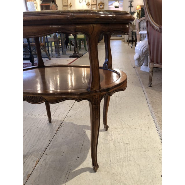 French Provincial Style Marble Inset Two-Tier Fruitwood Oval Side Table For Sale - Image 4 of 13