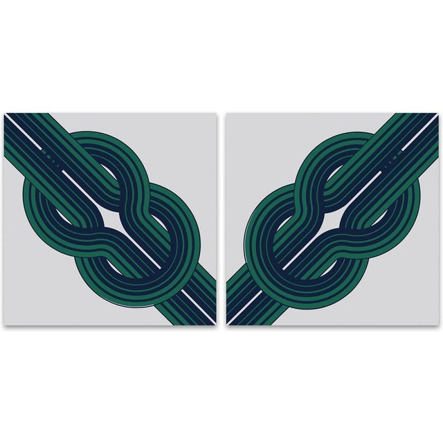 Vintage 1970s Green Knot Supergraphics - A Pair - Image 1 of 2