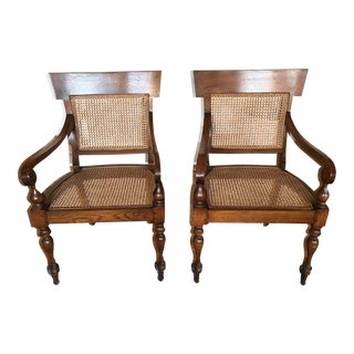 Pair of Ming Style Wood Rattan Arm Chairs