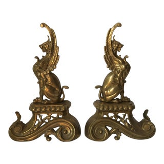 Antique Ornate Brass Griffin Sculpture Chenets - a Pair