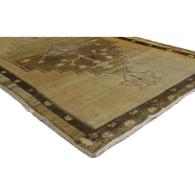 "Islamic Vintage Turkish Oushak Brown Runner - 3'7"" X 10'5"" For Sale - Image 3 of 3"