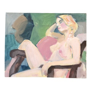 Original Vintage Female Nude Modernist Painting For Sale