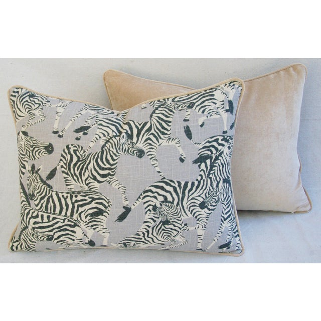 "Tan Custom Safari Zebra Linen/Velvet Feather & Down Pillows 24"" x 18"" - Pair For Sale - Image 8 of 11"