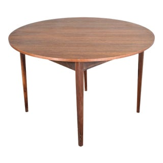 Mid Century Modern Walnut Round Flip Top or Folding Dining Table to Demilune Table 1960 For Sale