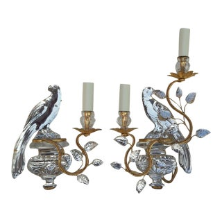 French Art Deco Authentic Maison Bagues Crystal Opposing Face Parrot Sconces, a Pair For Sale