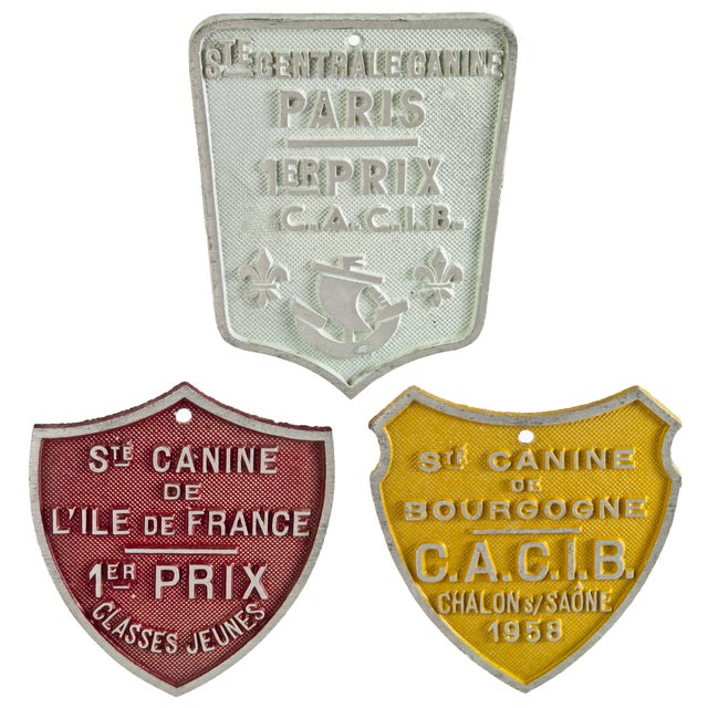 Vintage French Dog Show Award Plaques - Set of 3 - Image 2 of 2