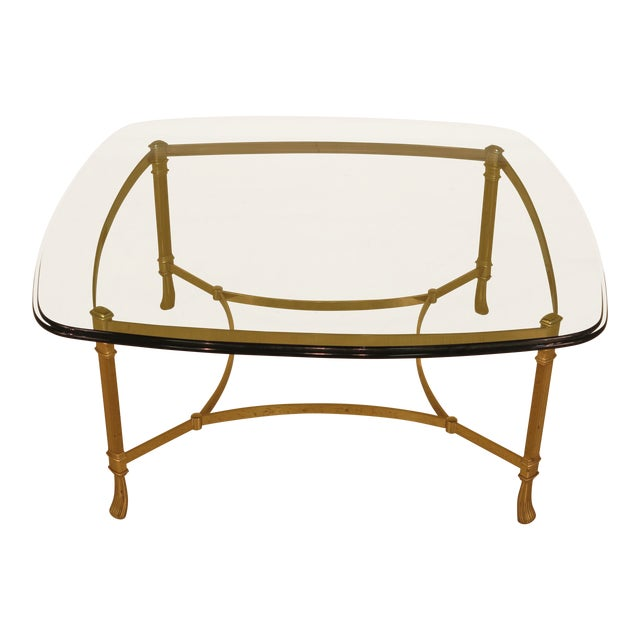 Labarge Glass Top Brass Base Coffee Table For Sale
