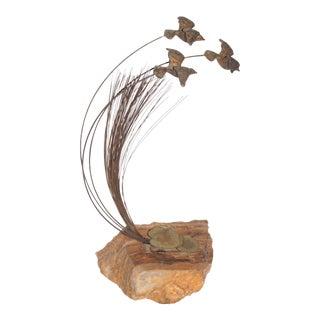 1970s Vintage Curtis Jere Flying Sea Birds Signed Sculpture For Sale