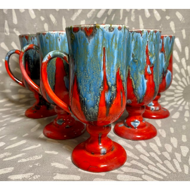 Red 1970s Vintage Hand-Crafted Blue & Red Drip Glaze Ceramic Pottery Footed Mugs- Set of 6 For Sale - Image 8 of 8