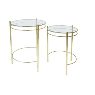 1970s Vintage Modern Round Brass and Glass Nesting Side Tables- a Pair Preview