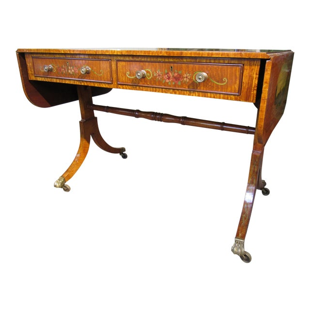 19th Century Adams Style Handpainted Satinwood Two Drawer Sofa Table For Sale