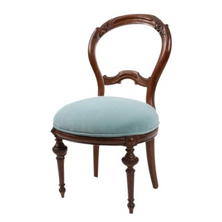 Victorian Style Turquoise Velvet Chair For Sale