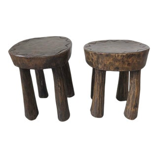 1950s Rare Pair of French Brutalist Mid Century Stools For Sale