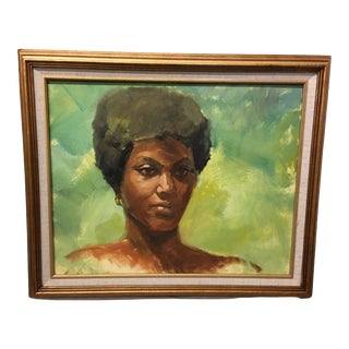 Vintage Mid-Century Oil on Masonite Portrait by Dolores Pharr Smith (D'Pharr) For Sale