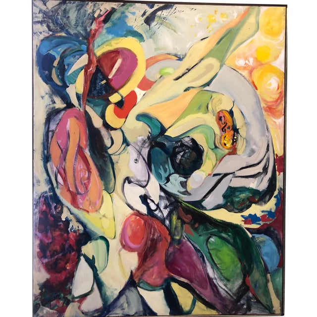 Large 1973 Abstract Expressionism Painting by Ny Artist Joanne Cooper For Sale