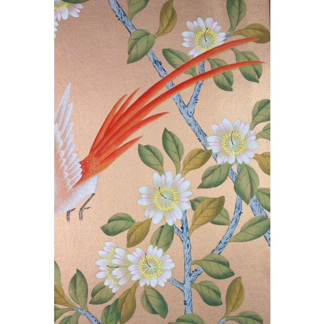 Not Yet Made - Made To Order Rose Gold Silk Chinoiserie Wallpaper Diptych Paintings - 2 Pieces For Sale - Image 5 of 8