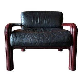 Vintage Gae Aulenti for Knoll International Soft Black Leather and Steel arm Chair