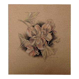 Floral III Drawing on Kraft, by Kathleen Ney For Sale