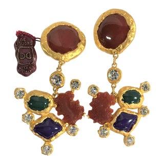 Vintage Jewelry De Liguoro Modernist Brutalist Runway Statement Earrings For Sale
