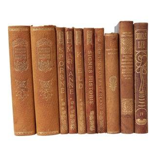 Art Nouveau Leather-Bound Books, S/10