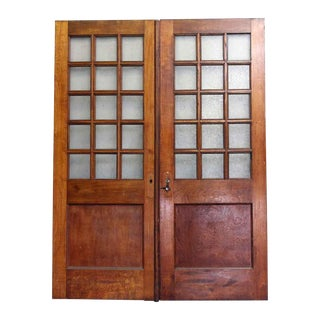 Double Wooden Doors With Textured Glass Panels - a PAir