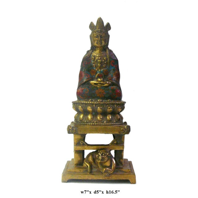 Gold Metal & Blue Enamel Cloisonne Buddha Statue For Sale - Image 8 of 8