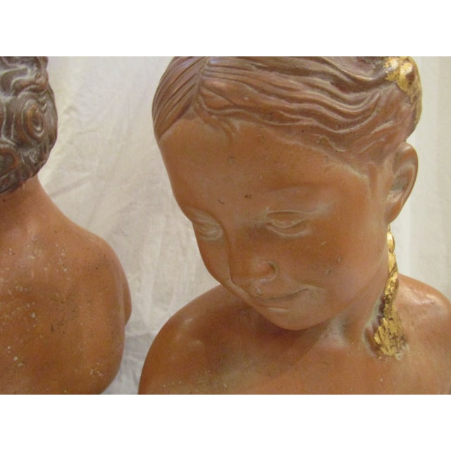 Figurative Paolo Marioni Italian Terracotta Child Statue Busts - A Pair For Sale - Image 3 of 5
