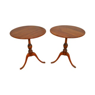 Leopold Stickley Vintage Solid Cherry Pair of Round Side Tables