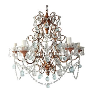 French Murano Ice Blue Balls and Crystal Swags Chandelier, circa 1920 For Sale