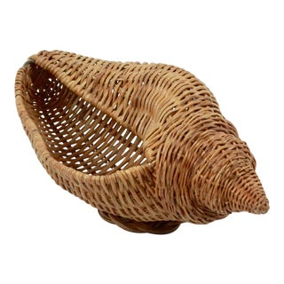 Vintage Wicker Conch Shell Basket, 1980s For Sale